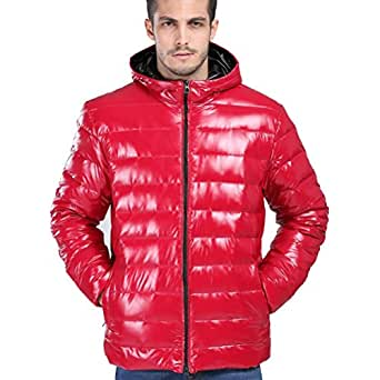 FW@ men's jackets winter zipper hooded padded coat red