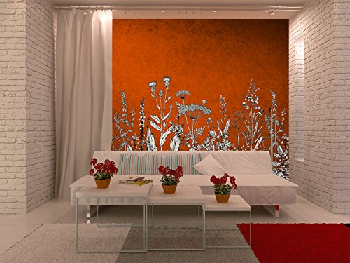 Large Wall Mural White Flowers on Vintage Red Background Vinyl Wallpaper Removable Wall Decor