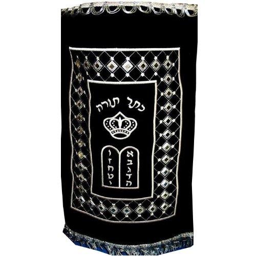 Black Velvet Torah Mantel - Sterling Silver Designed
