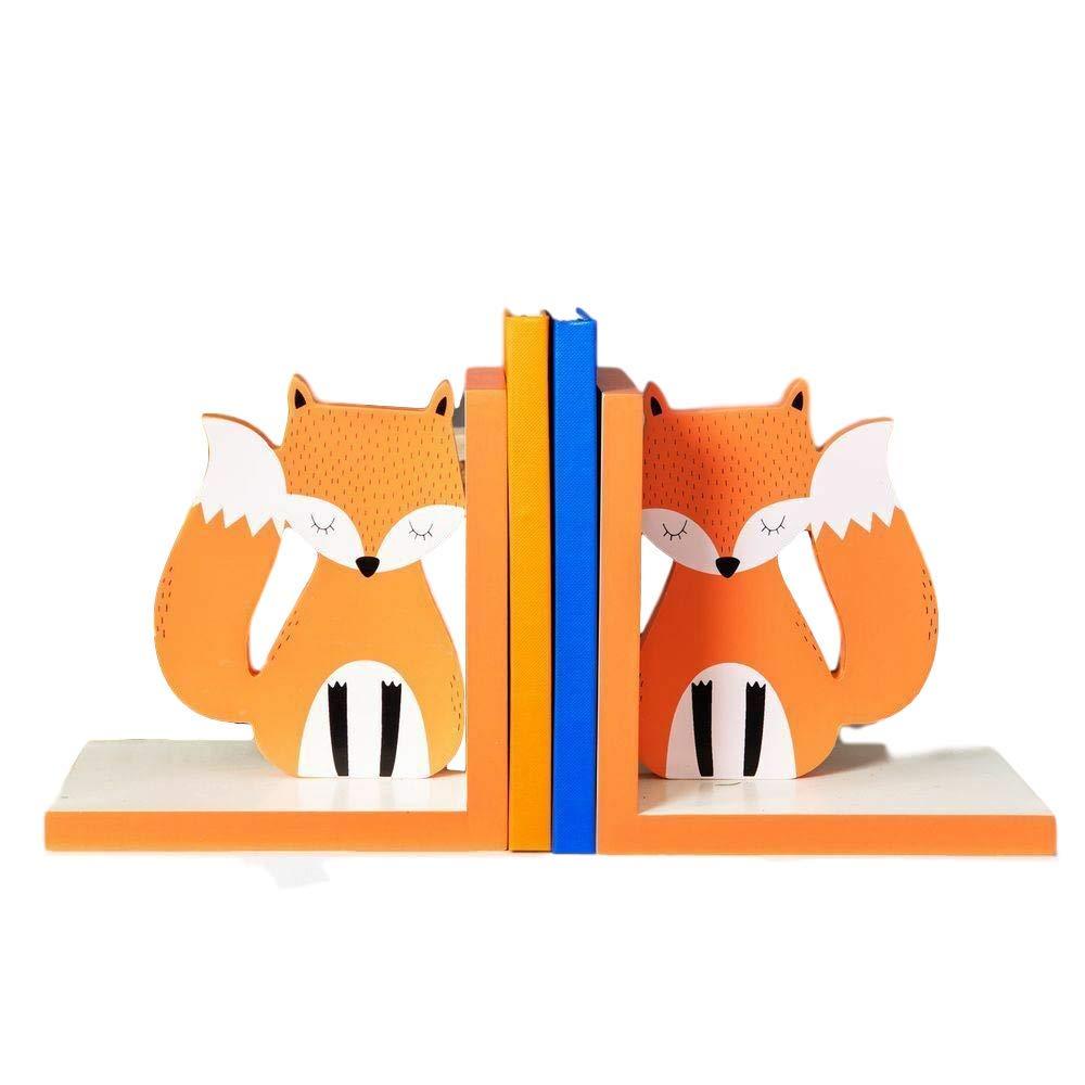 Animal Friends Kids Wooden Book Ends / Shelf Tidy - Orange White FOX - 14cm