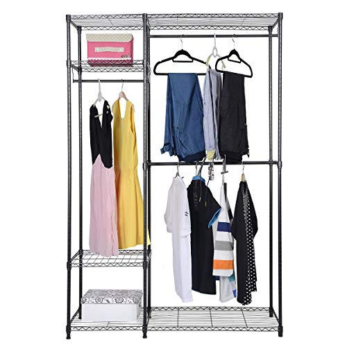 S AFSTAR Safstar Heavy Duty Clothing Garment Rack Wire Shelving Closet Clothes Stand Rack Double Rod Wardrobe Metal Storage Rack Freestanding Cloth Armoire Organizer