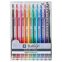 Sakura Knock Gel Ink Ballpoint Pen, Ball Sign Knock 05, 10 Color Assorted (GBR155-10)