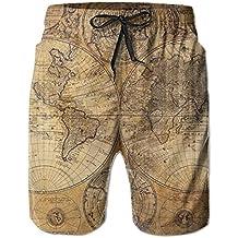 Hoodieu World Map Elastic Mens Boardshorts Swim Trunks Men Tropical Running Swim Board Shorts Bathing Swim Trunks