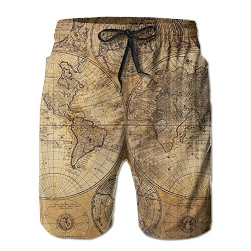 Hoodieu World Map Drawstring Mens Boardshorts Swim Trunks Men Tropical Running Athletic Board Shorts Solid Swim Trunks
