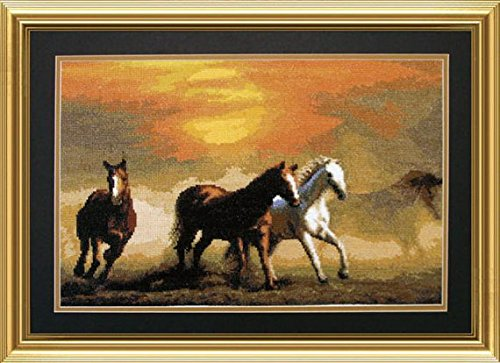 - Embroidery Counted cross stitch kit Charivna mit #501 Mustang Horses in the wild , Animals 41.5x26.5 cm / 16.14x10.24 in