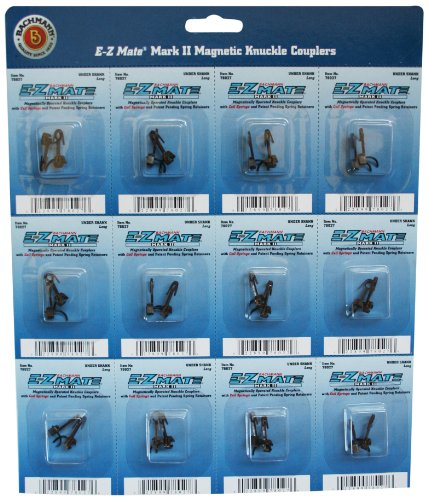 Magnetic Coupler (Bachmann Trains E - Z Mate Mark II Magnetic Knuckle Couplers with Metal Coil Spring - Over Shank - Long (12 Coupler pairs per card) - HO Scale)