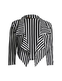 Rimi Hanger Womens Black White Stripe Celeb Waterfall Cropped Blazer S/XXL