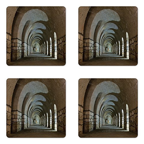 - Ambesonne Antique Coaster Set of Four, Corridor in an Old Fortress Touristic Historical Landmark Medieval Hallway Arch Picture, Square Hardboard Gloss Coasters for Drinks, Sand