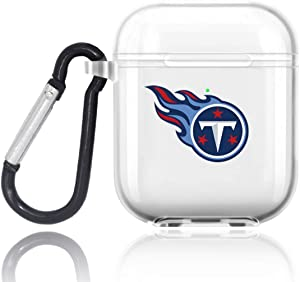 Sunnyhot Transparent Earphone Cover Fit Tennessee Titans Protective Shockproof Case Cover Skins with Keychain Compatible with Apple AirPod 2 and 1 (Fit Titans)