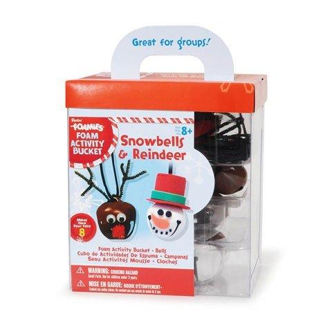 - 8 Foamies Snowbells and Reindeer Bell Necklace Foam Christmas Craft Activity Bucket Kit