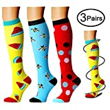 Compression Socks (3 Pairs) 15-20 mmhg is BEST Athletic & Medical for Men & Women, Running, Flight, Travel, Nurses,Edema (Large/X-Large, Assorted 7)