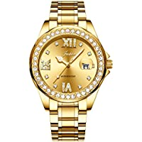 Jechin Women's Luxury Crystal Diamond Calendar Wristwatch 18K Jewelry Gold Plated and Stainless Steel Watches for Ladies