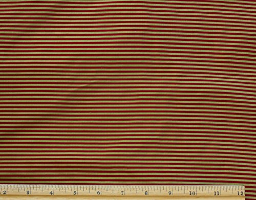 Gold & Red Narrow Stripes, 100% Silk Dupioni Shantung Fabric, By The Yard, 44