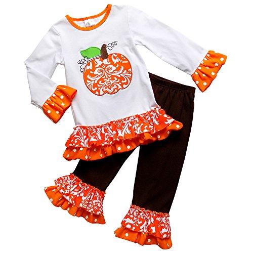So Sydney Girls Halloween Pumpkin Polka Dot & Stripe 2 Piece Ruffle Pants Outfit (L (5), Orange Scroll)
