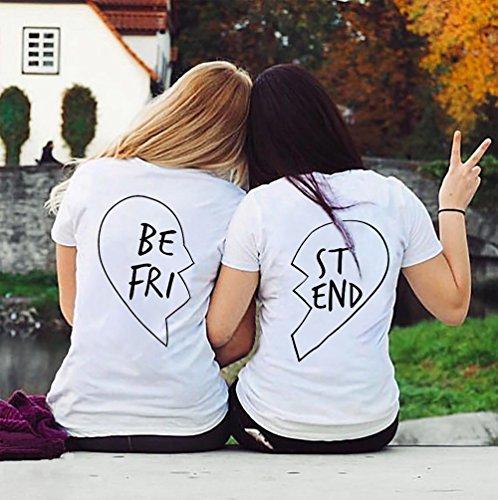 Best Cotone Bff Migliori Bianco Per shirt Shirt 100 Corta T Estate Friend Manica Donna Medio Amici Maglietta bianco Heart Coppia FUPnF4W