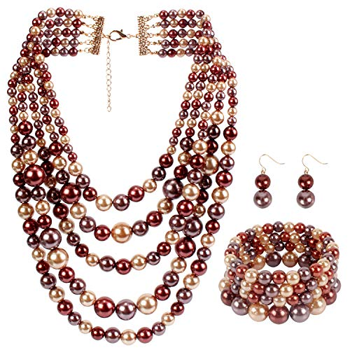 Faux Strand Earrings - LuckyHouse Faux Pearl Strands Jewelry Sets for Women Mix Coffee Tone Include Necklace Bracelet and Earrings Set
