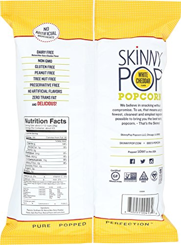 SKINNYPOP White Cheddar Popped Popcorn, Individual Bags, Gluten Free Popcorn, Non-GMO, No Artificial Ingredients, A Delicious Source of Fiber, 4.4 Ounce Pack of 12