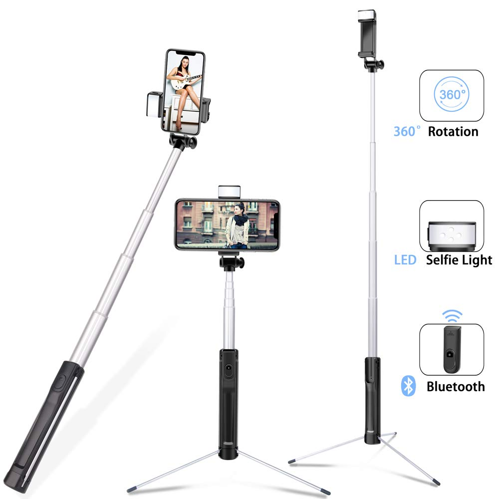 Selfie Stick with Light Tripod,3 in 1 Lightweight Aluminum Alloy Extendable Selfy Sticks with Wireless Remote Shutter,Compatible with iPhone Xs max XR X 8 7 6s Plus,Galaxy S10 9 8 and More(Upgrade) by Evershop