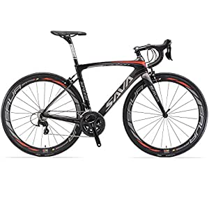 SAVADECK HERD 6.0 T800 Carbon Fiber 700C Road Bike SHIMANO 105 5800 Groupset 22 Speed Carbon Wheelset Seatpost Fork Ultra-light 18.3 lbs Bicycle Black Grey 44cm