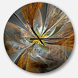 Designart Symmetrical Yellow Fractal Flower' Oversized Modern Metal Clock, Circle Wall Decoration Art, 23x23 Inches