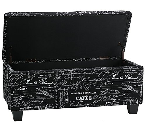Cortesi Home Mamet Script Fabric Storage Ottoman Long Bench, Black For Sale