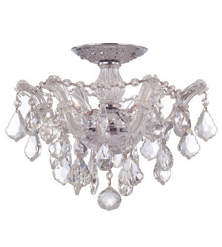 Semi Flush Mounts 3 Light with Clear Crystal Clear Hand Cut Polished Chrome Size 13.5 in 180 Watts - World of Lighting
