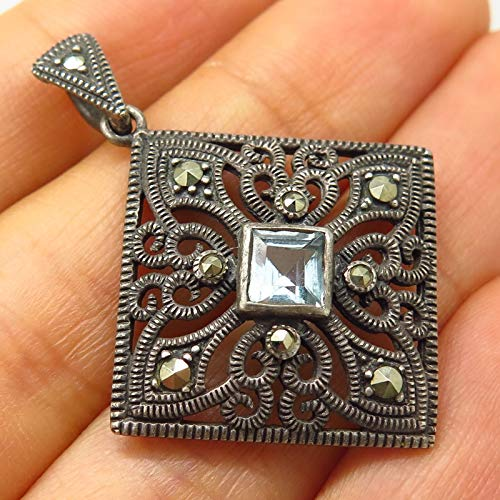 (Vintage 925 Sterling Silver Real Marcasite & Blue Topaz Gem Swirl Design Pendant Jewelry Making Supply by Wholesale Charms )