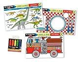 Melissa & Doug Fun Themes Placemat Set: Set the Table, Fire Engine, Dinosaurs