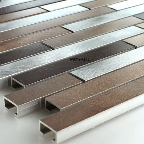 Aluminium Alu Metall Mosaik Fliesen Kupfer Braun Mix