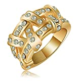 Evertrust (TM)2016 New Fashion Design Rings 18K Gold Plated Genuine Austrian Crystal Weave Ring Wedding Jewelry - Ri-HQ0125