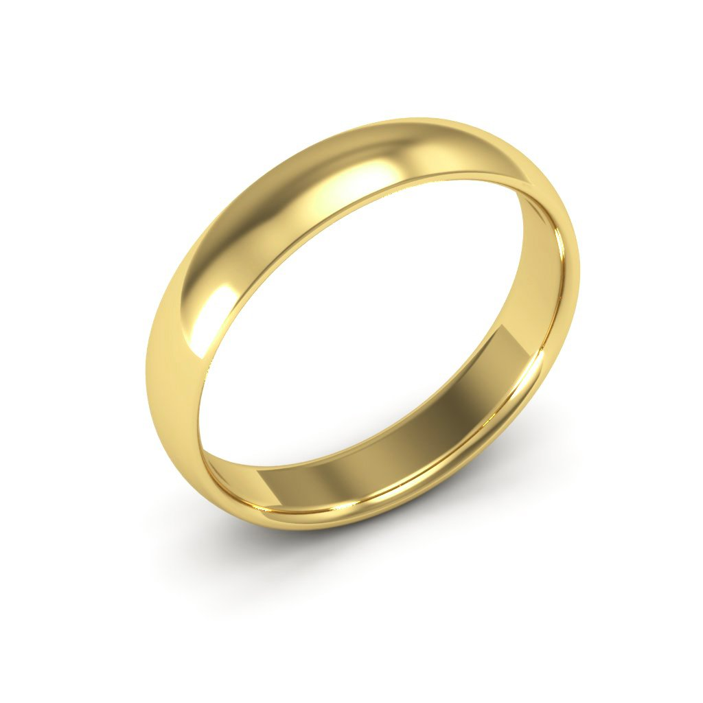 14K Yellow Gold men's and women's plain wedding bands 4mm comfort-fit light, 5.25 by i Wedding Band (Image #2)