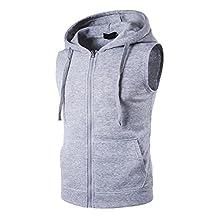Bmeigo Men Casual Sleeveless Sports Lightweight Zip Up Hoodies Vest