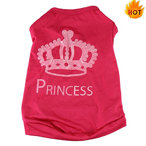 Farjing Puggy Costumes,Fashion Summer Pet Dog Cat Cute Princess T-Shirt Clothes Vest Coat (S,Red]()