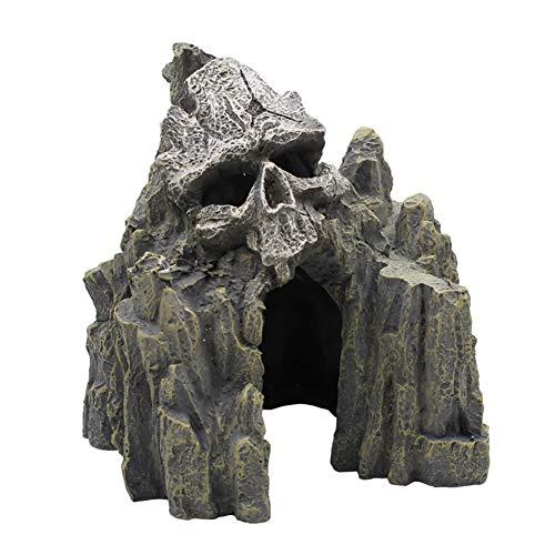 OMEM Reptile Decorations for Terrarium Resin Skull Rock Ornament Habitat Decor Landscaping Aquarium Fish Tank Hideout