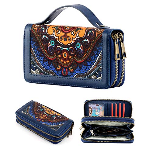 Double Zipper Wallets Wristlet Cellphone Wallet Long Clutch Purse with Wrist Strap for Women and Girls (Blue)