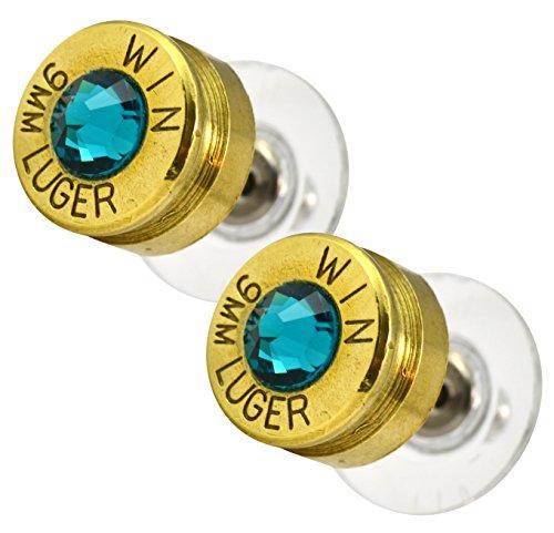 LoriDavidson Designer Brass 9mm Bullet Shell Crystal Stud Earrings
