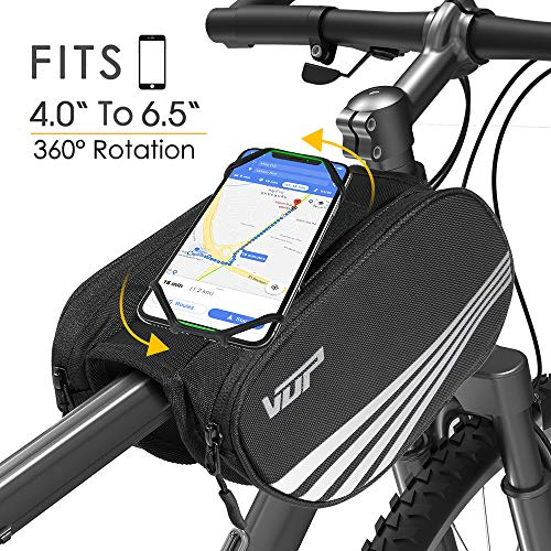 VUP Bike Front Frame Bag,Universal Bicycle Motorcycle Handlebar Bag,Top Tube Bike Bag with 360° Rotation Cell Phone Holder for iPhone Xs/XS MAX/XR/X/8/8P/7/7P/6S/6/5,Galaxy S9/8/7/6/Note,Nubia,Huawei ()