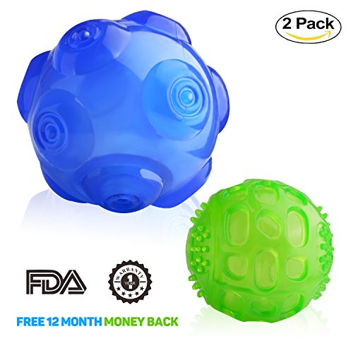 Dog Toy Balls Squeak, Lauva Durable Rubber Interactive Squeak Training Playing Pet Balls - Two Size Suit for Small,Medium and Large Dogs (Big Blue, Small Green )