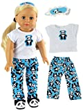 18 Inch Doll Clothes - Panda Bear Pajamas American Girl Dolls, T-shirt, Pj Bottoms, Eye Mask Are Included, Beautiful Fabrics With A Soft VelcroDOLL AND SLIPPERS NOT INCLUDED