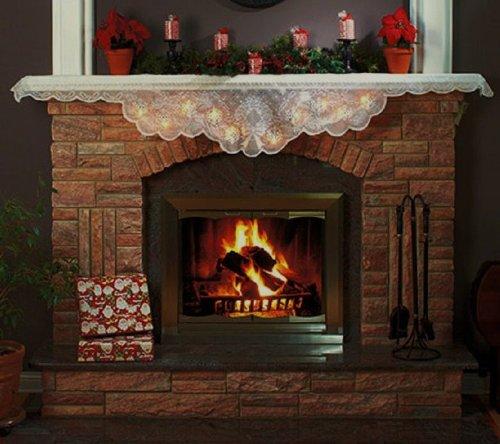 fireplace mantel scarves christmas