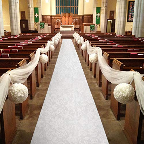 Healon 50 x 3 ft Wedding Aisle Runner Aisle Runner White Aisle Runner Rug with Pull String for Wedding,Ceremony and Party