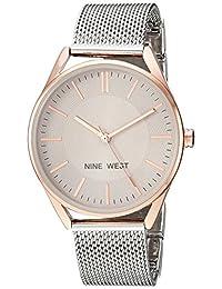 Nine West - Reloj de brazalete de malla para mujer, Plateado/Oro rosa