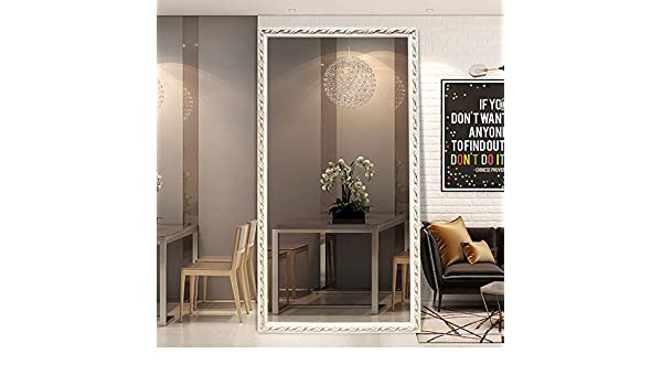 Miroir au sol Lei ZE Jun UK- Espejo de Pared de Longitud Completa para el hogar, Simple con Soporte, Espejo para vestidor, Espejo de Montaje para Tienda de Ropa, Gray Bottom White