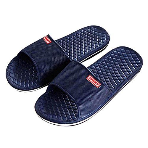 Aniywn Men Solid Color Flat Bathing Slippers Summer Indoor & Outdoor Leisure Slippers (US:8, Dark (Dark Grey Patent Footwear)