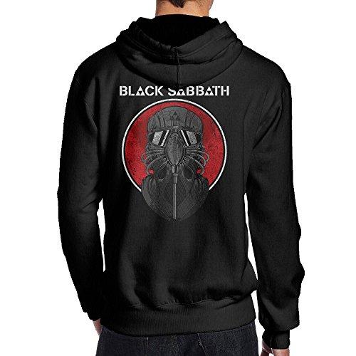 COREI779 Men's Black Rock Band Sabbath Jersey Hooded Sweatshirt XXL Black