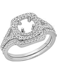0.80 Carat (ctw) 10K Gold Round Diamond Ladies Bridal Semi Mount Engagement Ring Set 3/4 CT