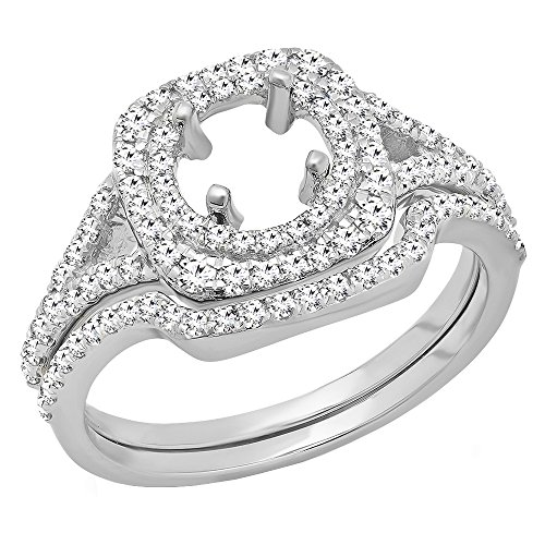 Round Mount Diamond Semi Set - Dazzlingrock Collection 0.80 Carat (ctw) 10K Round Diamond Semi Mount Engagement Ring Set 3/4 CT, White Gold, Size 5.5