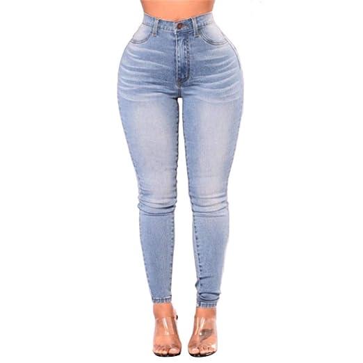 3a9569bd64397 Kehen High Waist Women Knee Skinny Denim Pants Boyfriend Jeans Stretch Blue  Trousers Light Blue Small