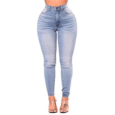70cd9dfe634 JOFOW Womens Pencil Jeans Cowboy Denim Pants Acid Wash High Waisted Cropped  Skinny Tunic Casual Slim Fit at Amazon Women s Jeans store