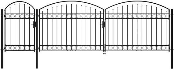 Pfosten Einfahrtstor Hoftor Zauntor S-Tor 400x160 AWZ Stahl Gartentor Tor Doppelfl/ügeltor G1 inkl
